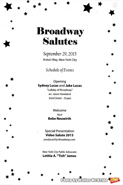 Program for the Broadway Salutes 2015 in Anita's Way on September 29, 2015 in New York City.