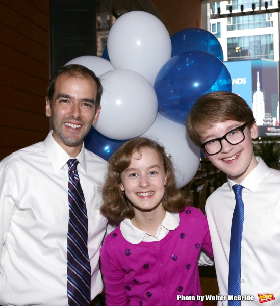 Marc Bruni, Sydney Lucas and Jake Lucas attend the Broadway Salutes 2015 in Anita's Way on September 29, 2015 in New York City.