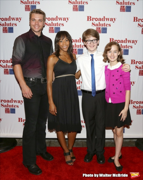 Nathaniel Hackmann, Nikki James, Jake Lucas and Sydney Lucas attend the Broadway Salutes 2015 in Anita's Way on September 29, 2015 in New York City.