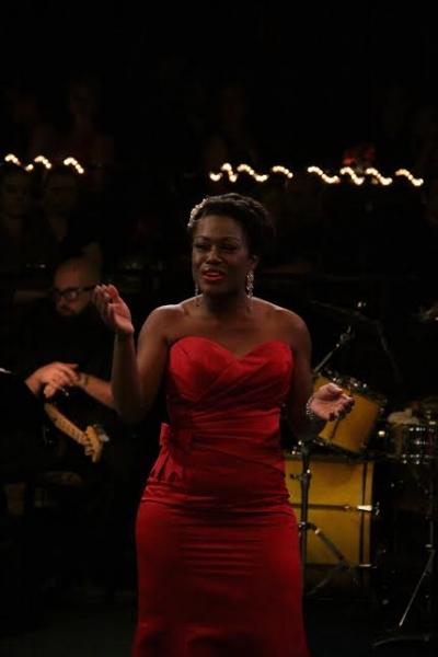 LaToya Gardner sings for Honoree LB Gaiters