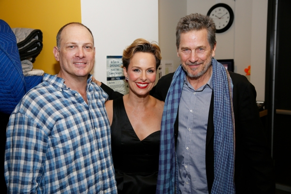 Cast members David Bishins and Melora Hardin pose with actor Tim Matheson