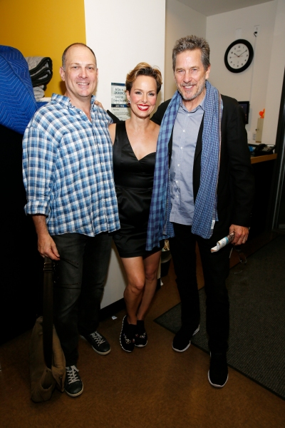 David Bishins and Melora Hardin pose with actor Tim Matheson
