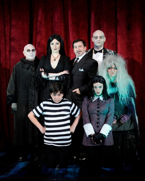Alexander LeBlanc as Pugsley, Kayla Tomas as Wednesday, Connie Anderson as Grandma, (back row from left) Fred Frabotta as Uncle Fester, Katie Anne Clark as Morticia, Steve Gagliastro as Gomez and Joseph Torello as Lurch
