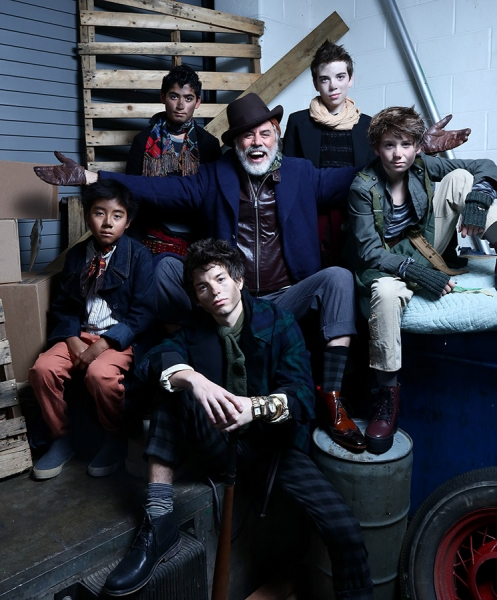 Jeff McCarthy as Fagin (center) and members of Fagin''s gang