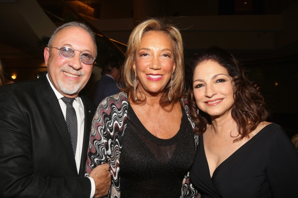 Emilio Estefan, Denise Rich, and Gloria Estefan attend a special performance of ON YOUR FEET!, benefiting Gabrielle''s Angel Foundation for Cancer Research.