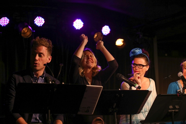 Barrett Foa, Mary Faber and Mary Birdsong react to the ballot counting.