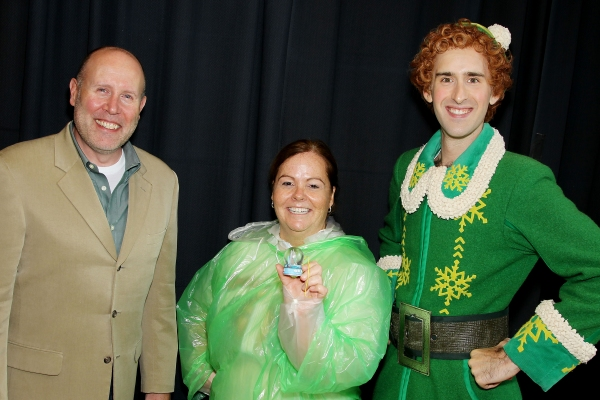 Sam Scalamoni ( of ELF), Jeannette Perkins (winner) and Buddy (The Elf). Photo by Marion Curtis/Starpix.