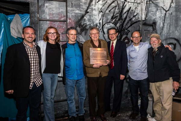 Michael Rego, Jennifer Laura Thompson(Hope Cladwell in the original production of Urinetown), Greg Kotis (co-lyricist and book writer), John Cullum, Mark Hollman (co-lyricist and composer), Matthew Rego and James Jennings, Artistic  of The America