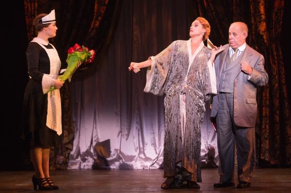 Blaire Baker (Maid), Emma Stratton (Helen Sinclair) and Rick Grossman (Julian Marx)