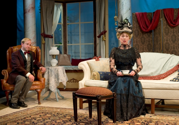Lenny Banovez as Algernon Moncrief and Angela Iannone as Lady Bracknell