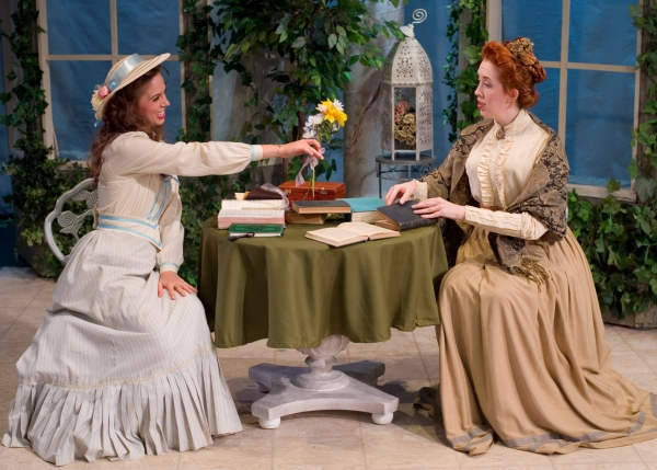 Maggie Wetzel as Cecily Cardew and Christy Richardson as Miss Prism