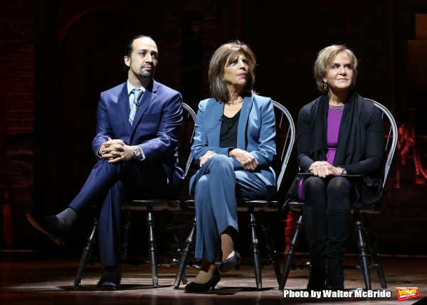 ''Hamilton'' creator Lin-Manuel Miranda, Executive Director of Lesley Herrmann of Gilder Lehrman and Rockefeller Foundation president Judith Rodin