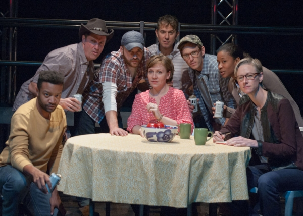Ensemble members (from left) Justin James Farley, Tim Decker, Chris Rickett, Justine C. Turner, David Prete, Christopher Sheard, Caren Blackmore and Kelli Simpkins