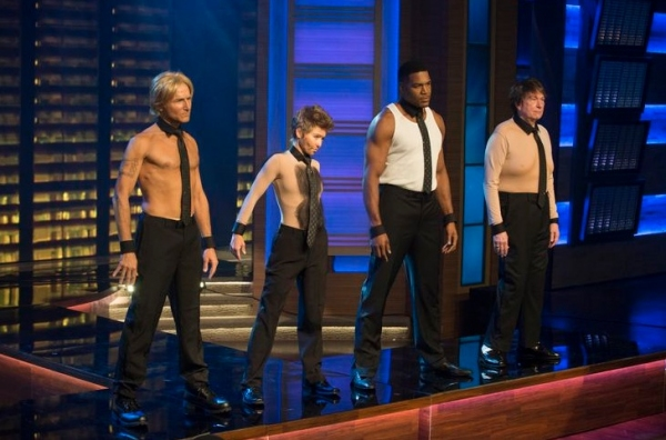 Kelly Ripa, Michael Strahan, Michael Gelman & Art Moore as ''Magic Mike''