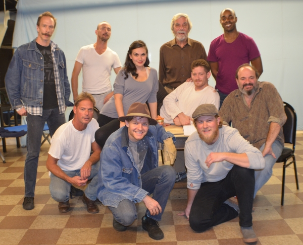 The cast of OF MICE AND MEN: Joe Pallister, Jon Kovach, Preston Truman Boyd, J. Stephen Brantley, Georgia Warner, Sawyer Spielberg, Josh Gladstone, William Sturek, Terry Brockbank, and Chauncy Thomas