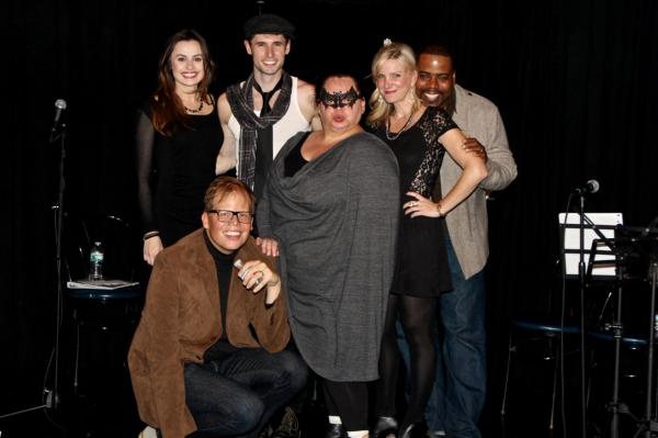 The full cast of the November 1 performance of ''Brenda Braxon presents Villain: DeBlanks.'' Standing: Laura Yoder Witt, Mike Schwitter, Keala Settle, Jessica Hendy & Bernard Dotson. In front: Jeff Hiller.
