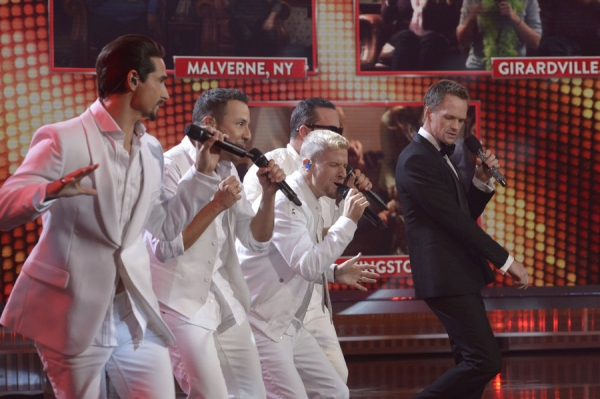 BEST TIME EVER WITH NEIL PATRICK HARRIS -- Episode 108 -- Pictured: (l-r) Backstreet Boys, Neil Patrick Harris -- (Photo by: Virginia Sherwood/NBC)