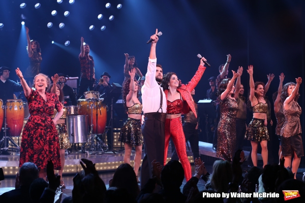 Alma Cuervo, Josh Segarra, Ana Villafane, Andrea Burns and cast during the Broadway Opening Night Curtain Call Bows for ''On Your Feet'' at the Marquis Theatre on November 5, 2015 in New York City.