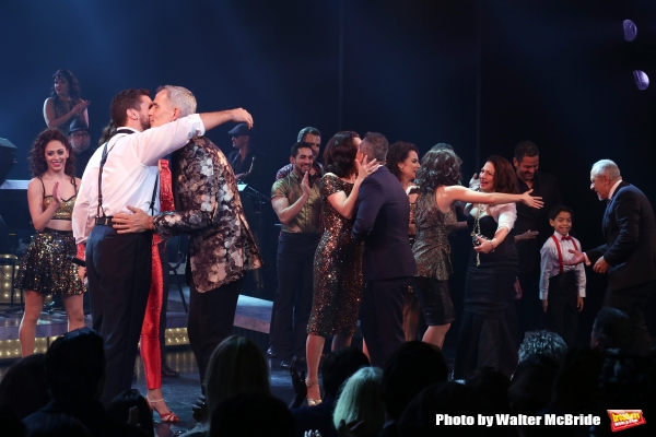 Josh Segarra, Jerry Mitchell, Andrea Burns, Gloria Estefan, Emilio Estefan and cast
