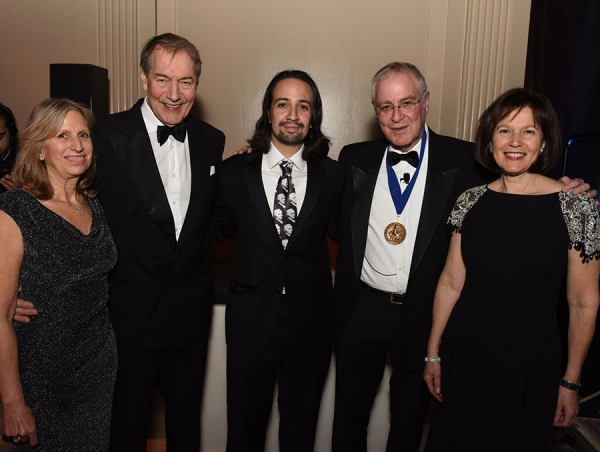 Louise Mirrer, Charlie Rose, Lin-Manuel Miranda, Ron Chernow, and Pam Schafler