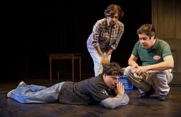 Jon Bass (lying on ground), Maria Elena Ramirez (standing, and Triney Sandoval (crouching)