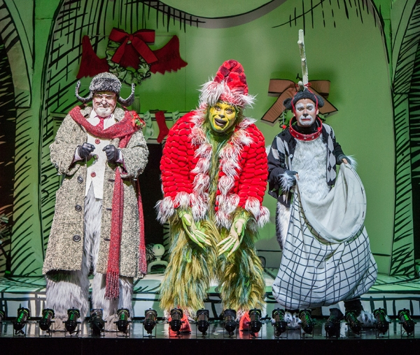 Steve Gunderson as Old Max, J. Bernard Calloway as The Grinch, and Blake Segal as Young Max