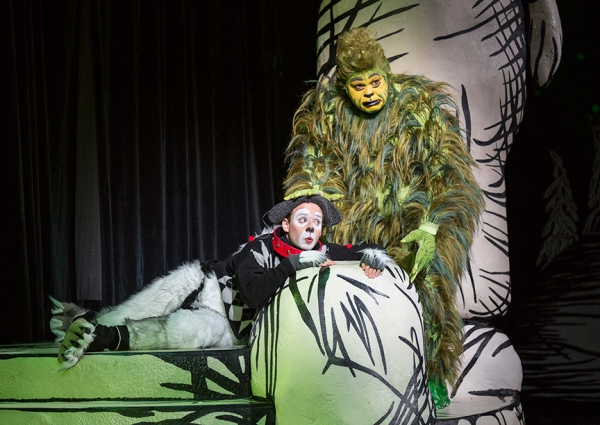 Blake Segal appears as Young Max and J. Bernard Calloway as The Grinch Photo