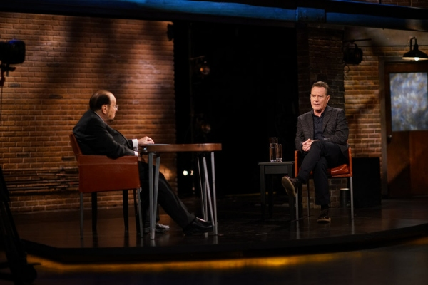 INSIDE THE ACTORS STUDIO  -- ''Bryan Cranston'' -- Pictured: (l-r) James Lipton, Bryan Cranston -- (Photo by: Anthony Behar/Bravo)