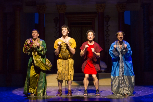 David Josefsberg (Marcus Lycus), Michael Urie (Hysterium), Christopher Fitzgerald (Pseudolus), and Kevin Isola (Senex)