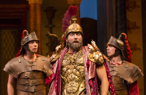 Bobby Conte Thornton (Roman Soldier), Graham Rowat (Miles Gloriosus), and David Turner (Roman Soldier)