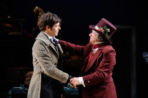 Stephen Thorne as Bob Cratchit and Stephen Berenson as Ebenezer Scrooge