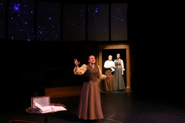 Foreground: Henrietta Leavitt (Shannon Emerick); Background: Williamina Fleming (Claire Hart-Palumbo) and Annie Cannon (Elizabeth Marshall Black)