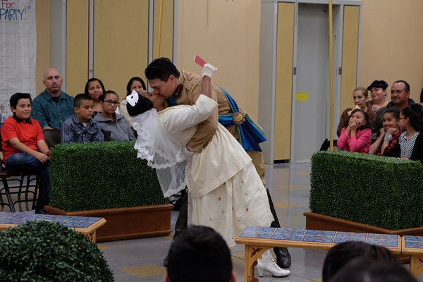 Monique Gaffney as Beatrice and Christopher Salazar as Benedick Photo