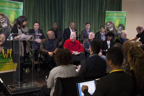 THE WIZ LIVE!  -- Press Junket -- (l-r, back) Derek McLane, Set Designer; Paul Tazwell, Costume Designer; Harvey Mason Jr., Music Producer; Stephen Oremus, Music ; Matthew Diamond, Live Television ; (l-r, front) Kenny Leon, Direc