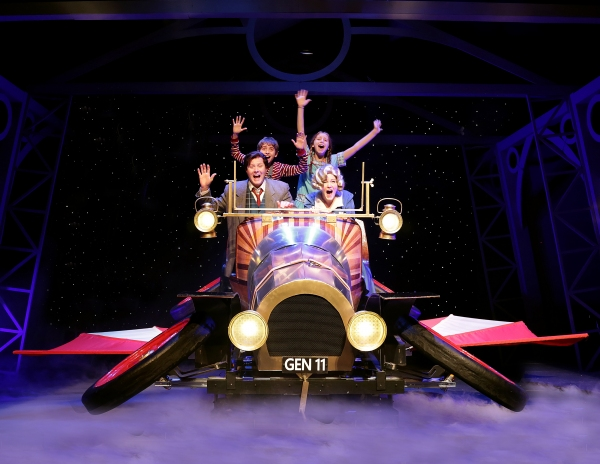 (clockwise from upper left) Nicholas Wharff as Jeremy Potts, Natalie Grote as Jemima Potts, Dani Boal as Truly Scrumptious, and Brandon John Lee as Caractacus Potts