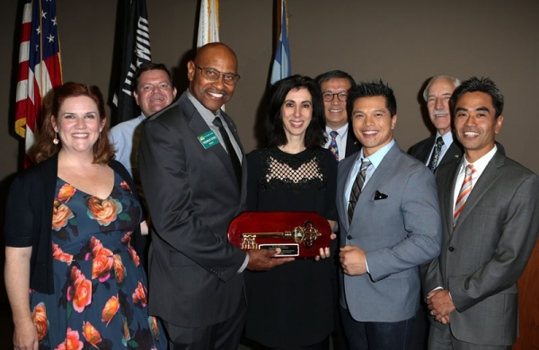 Donna Lynne Champlin, Councilman Mike Spence, Mayor Fredrick Sykes, Aline Brosh McKenna, Councilmember Ben Wong, Vincent Rodriguez III, Councilmember Corey Warshaw, and Mayor Pro Tem James Toma
