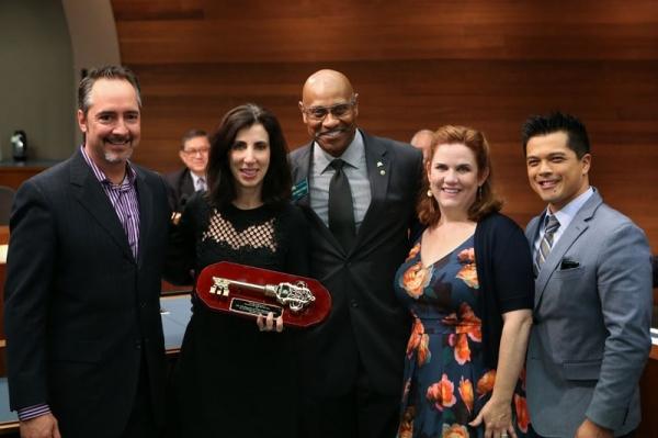 Thom Sherman, Aline Brosh McKenna, Mayor Fredrick Sykes, Donna Lynne Champlin, and Vincent Rodriguez III