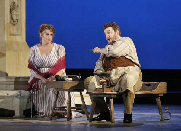 Rachel Willis-Sorensen (Eva) and James Rutherford (Hans Sachs)