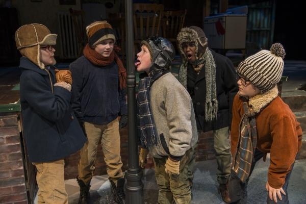 Jack Edwards (ensemble) Rowan Moxley (Schwartz), Charlie Iverson (Flick tongue stuck to flagpole) Cameron Goode (understudy) and Nate Becker (Ralphie)