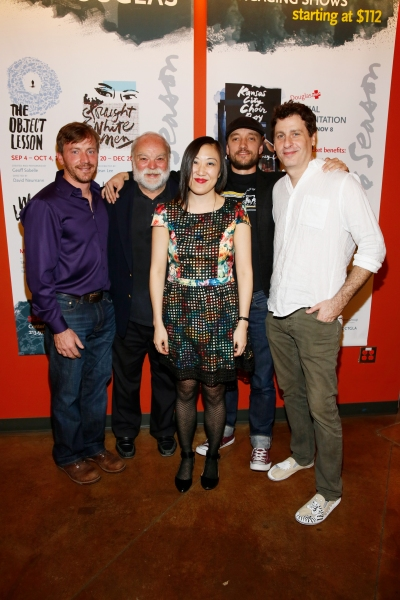 Brian Slaten, Richard Riehle, Frank Boyd and Gary Wilmes  pose with playwright/ Young Jean Lee (center)