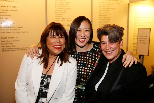 CTG Associate Artistic  Diane Rodriguez, playwright/ Young Jean Lee and Kristy Edmunds, Executive and Artistic  for Center for the Art of Performance at UCLA