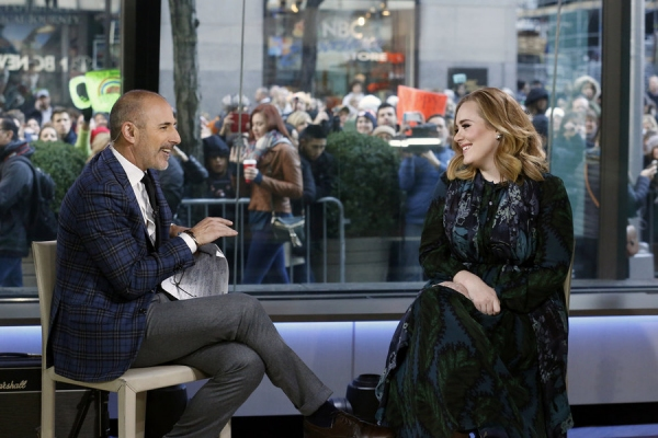 TODAY -- Pictured: (l-r) Matt Lauer and Adele appear on the ''Today'' show on Wednesday, November 25, 2015 -- (Photo by: Heidi Gutman/NBC)