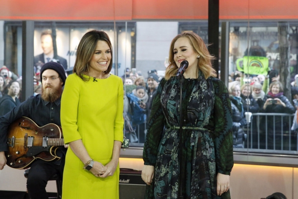 TODAY -- Pictured: (l-r) Savannah Guthrie and Adele appear on the ''Today'' show on Wednesday, November 25, 2015 -- (Photo by: Heidi Gutman/NBC)
