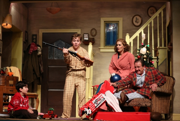 (from left) Theo Moss plays Randy, Michael Harp is Ralphie, Danni Smith plays the mother and Michael Accardo plays the Old Man