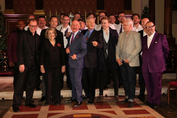 LONDON, ENGLAND - NOVEMBER 25:  (L-R front row) Anton Stepmans, Stefon Bednarczyk, Julian Clary, Anne Reid, Michael Cashman, Ian McKellen, Jack Lowden, Sean Matthias and Laurence Isaacson attend ''A Source of Life: 25 Years of the Ian Charleson Day Centre