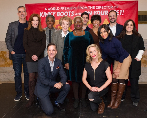 (back row) Jerry Mitchell, Stefanie Powers, Andre De Shields, Georgia Engel, Lilias White, Alexander Aguilar, Nancy Ticotin, Joanna Jones, Matt Sklar and Dori Berinstein; (kneeling) Bill Damashke and Haven Burton
