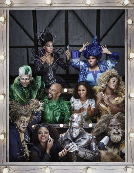 (l-r) bottom row; Elijah Kelley as Scarecrow, Shanice Williams as Dorothy, Ne-Yo as Tin-Man, David Alan Grier as The Cowardly Lion; middle row; Queen Latifah as The Wiz, Common as The Bouncer, Stephanie Mills as