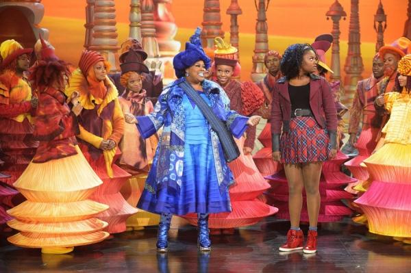 THE WIZ LIVE! -- (l-r) Amber Riley as Addapearle, Shanice Williams as Dorothy -- (Photo by: Virginia Sherwood/NBC)