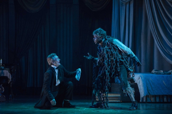Jonathan Smoots as Ebenezer Scrooge and Chike Johnson as Ghost of Marley