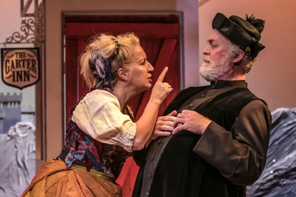 Mistress Quickly (Kristie Dale Sanders) chastises Sir Hugh Evans (Ames Adamson)